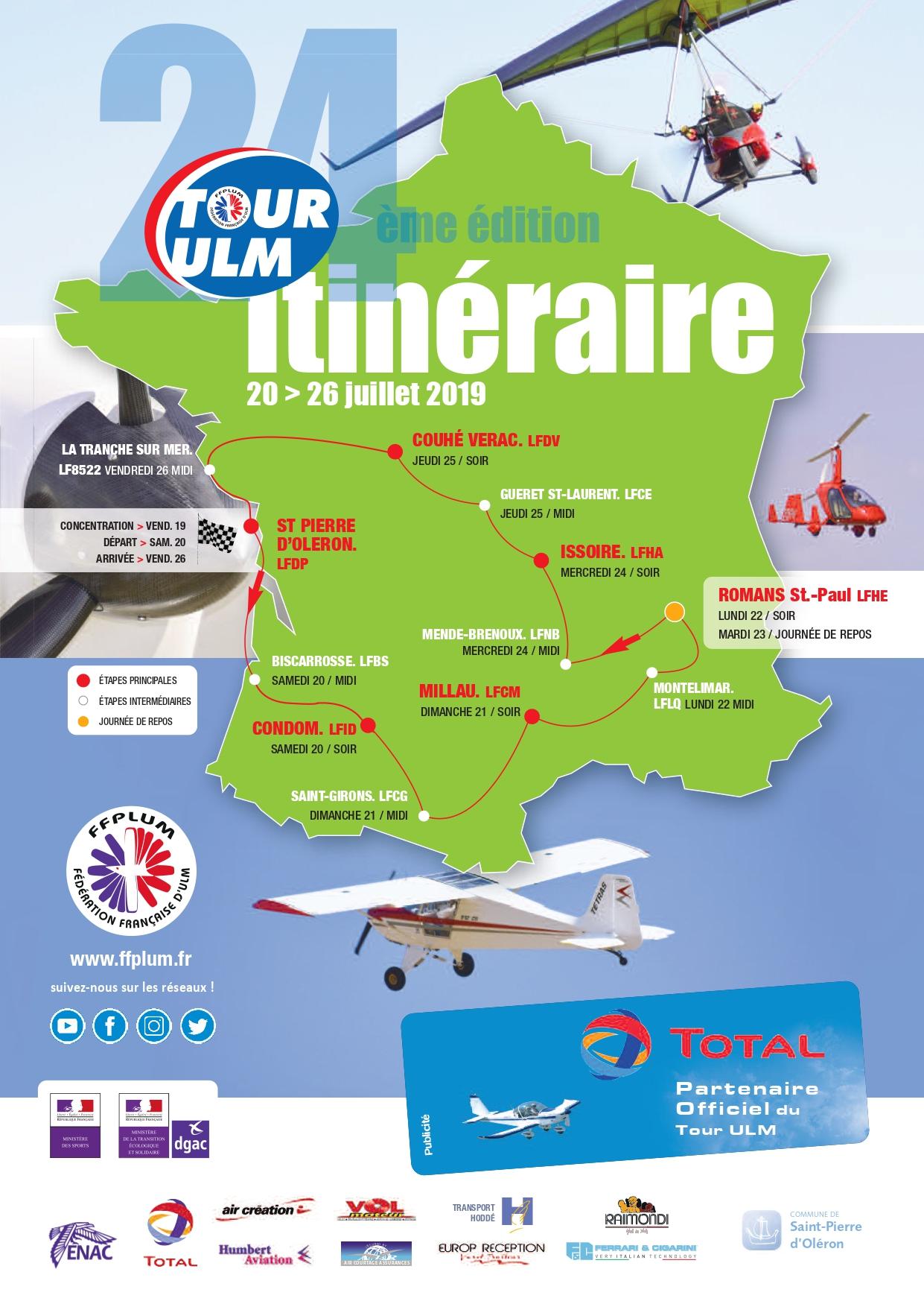 Parcours Tour ULM 2019 Fédération Française ULM